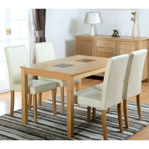 seconique-wexford-oak-effect-dining-set-with-4-cream-dining-chairs-cream-dining-room-table-glass-dining-room-table-and-cream-chairs