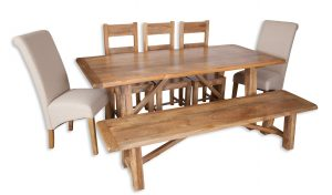 Large dining set natural bench