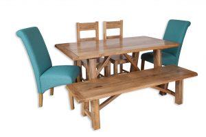 Medium dining set aqua bench