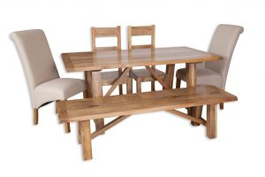 Medium dining set natural bench