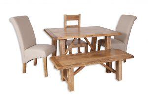 Small dining set natural bench